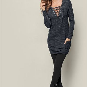 Lace Up French Terry Dress in Charcoal Grey | VENUS