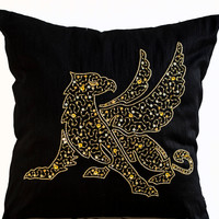 Metallic decorative Throw Pillows with Griffin -Animal pillow embroidered in gold beaded -Black Silk pillows -Gold pillows -18x18 -Gifts