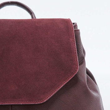 Burgundy Suede Angular Backpack - Urban Outfitters