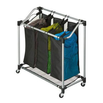 Triple Laundry Sorter Black