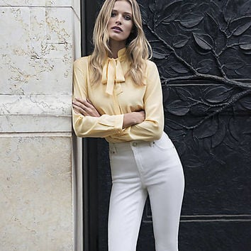 Express Edition Yellow Silk Tie-Neck Blouse