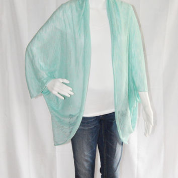 Sheer Aqua Cocoon Cardigan/ Lightweight Knit Wrap/ Long Cocoon Jacket/ Batwing Sleeve Cardigan/ Oversized Kimono Shrug