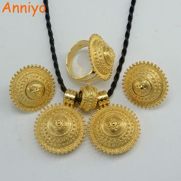 Anniyo Ethiopian set Jewelry Pendant Rope Earring Ring Gold Color Eritrea Africa Wedding Engagement sets Habesha #055006