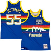 Mens Denver Nuggets Dikembe Mutombo Mitchell & Ness Navy Blue Authentic Basketball Jersey
