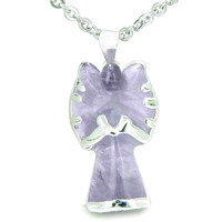 Praying Angel Charm Amethyst Safe Protection Powers Amulet Pendant 18 Inch Necklace