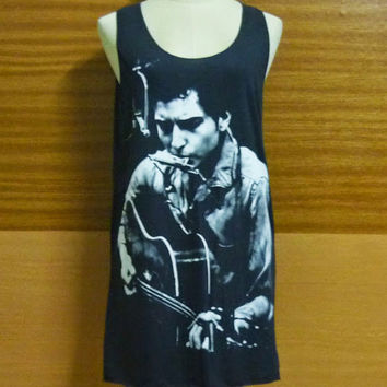 Bob Dylan harmonica tank top size M L singer musician song guitar black  cotton tee men women singlet sleeveless Long shirt