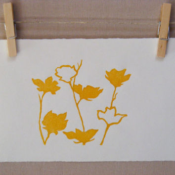 Yellow Spring Flowers  PRINT  Hand Pulled by WoodenSpoonEditions