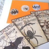 Halloween Gothic Flat Cards Set of 3 Envelopes And Seals Bat Skull Spider