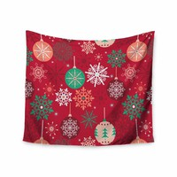 """julia grifol """"Christmas Balls"""" Red Green Pattern Holiday Vector Wall Tapestry"""