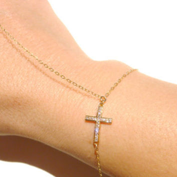 Slave Bracelet, 14kt Gold Filled Thin Chain, Cubic Zirconia Cross Charm, Cross Charm, Swarovski Crystal, Bracelet Ring, Hand Chain