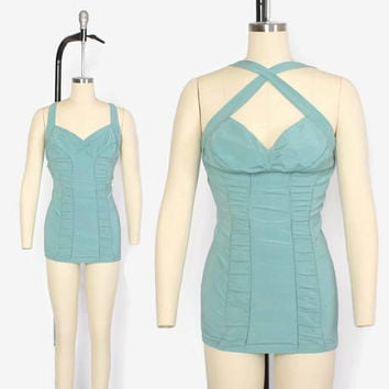 Vintage 50s Rose Marie Reid SWIMSUIT / 1950s Convertible Strap Ruched Pin-Up Dusty Aqua Bathingsuit S