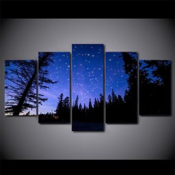 Stars Night Sky Print Night Forest Wall Picture for Living Room Framed UNframed