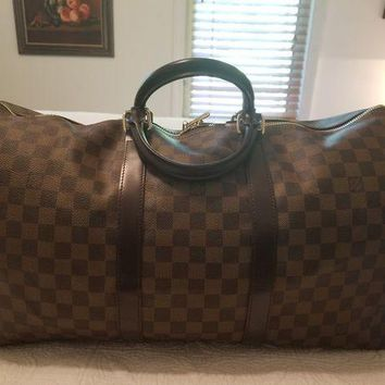 ICIKV2S AUTH LOUIS VUITTON UNISEX LV KEEPALL 50 DAMIER EBENE TRAVEL LUGGAGE XL TOTE BAG