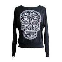 Day of the Dead Raglan Sweater - Sugar Skull American Apparel SOFT vintage feel - Available in sizes S, M, L