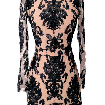For Love & Lemons Night to remember mini dress in black/nude