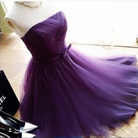 Vestidos de Formatura 2017 Short Prom Dress Purple Mini Tulle Strapless Girls Prom Dress Evening Party Vestido de Festa