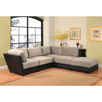 ABBYSON LIVING Victoria 5-piece Two-tone Fabric/ Leather Modular Sectional Sofa | Overstock.com Shopping - The Best Deals on Sectional Sofas
