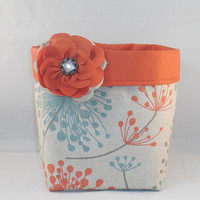 Tan, Blue and Rust Fabric Basket With Rust Colored Liner and Detachable Fabric Flower Pin For Storage Or Gift Giving