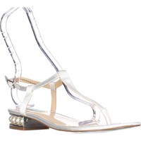 Blue by Betsey Johnson Evie Flat T-Strap Sandals, Ivory Satin, 7.5 US