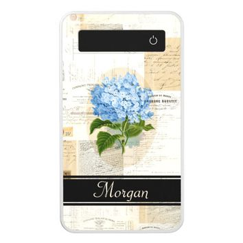 Vintage Blue Hydrangea French Personalized Battery Power Bank