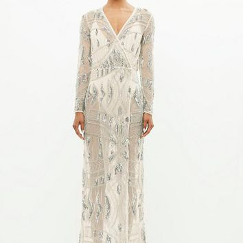 Missguided - Peace + Love Silver Mesh Embellished Maxi Dress