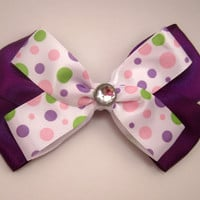 Purple and Polk a Dot Hair Bow