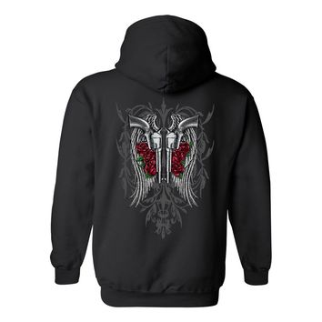 Women's Pullover Hoodie Beautiful Angel Wings Pistols and Roses