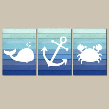 Boy Nautical Nursery Decor, Coastal Nursery Wall Art, Ocean Nursery Pictures, Blue Ombre Wood CANVAS or Print, Whale Anchor Crab Set of 3