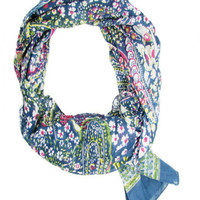 Floral Paisley Scarf- Navy