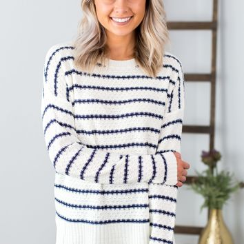 Textured Striped Sweater- Navy/White