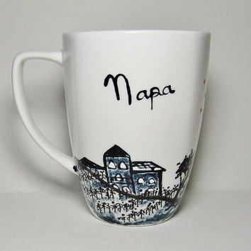 Long Distance, Napa Valley, California Skyline, State Mugs Cityscape, Skydiver, Personalized Mug, Hand Painted