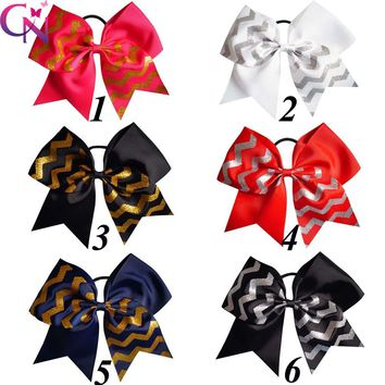 "7.5"" Large Glitter Chevron Cheer Bows With Rubber Band For Girls Kids Gold Striped Printed Ribbon Hair Bows Hair Accessories"