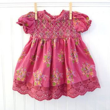Vintage Baby Dress, Smocked Pink Floral with lace, Size 0-6 months