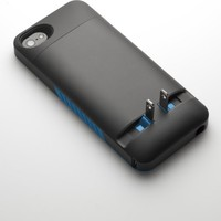 Prong 1050104 Pocket Plug Protective Case with Built-in A/C Charger for iPhone 5/5S - Black/Blue