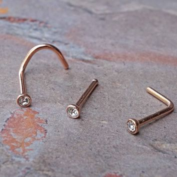 14kt Rose Gold Crystal Nose Ring
