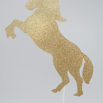 Unicorn Cake Topper, Gold & Pink Cake Topper, Glitter Cake Topper, Party Decorations, Birthday Cake Topper, Gold Unicorn, Cake Decorations