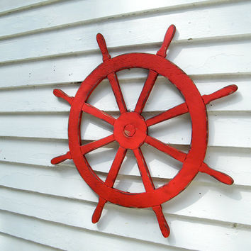 Ships Wheel Sign Nautical Sign Beach Coastal Wall Decor