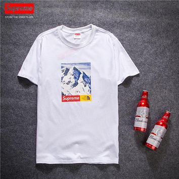 Trendsetter Supreme X The North Face Women Men Fashion Casual Shirt Top Tee