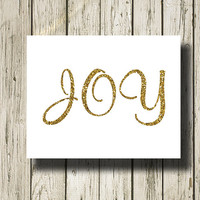 Joy Golden Gold White Quotes Printable Instant Download Print Poster Instant Download Wall Art Home Decor G025wg