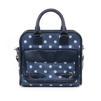 Loewe Navy Spotted Leather Bag