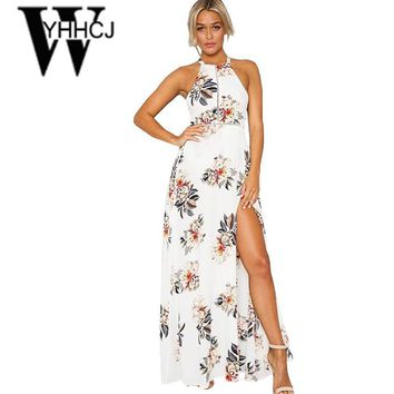 WYHHCJ 2017 side split off shoulder summer dress  backless printing maxi dress sleeveless women beach dress vestidos robe femme