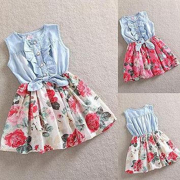 Sweet Baby Girls Kids Flower Dress Denim Vest Tulle Party Dress Toddler Clothes