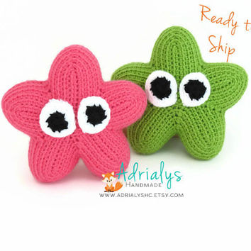 Crochet Stars- Crochet Animals- Pink Star- Green Star- Stuffed Star- Star Plush- Handmade Star- Crochet Toy- Toy Plush- Ready to Ship