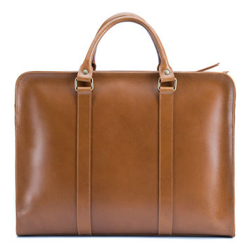 Archer Briefcase - Tan full grain leather