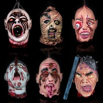DKF4S Halloween Haunted House Decoration Prop Super Horror Scary Simulation Human Ghost and Zombie Head
