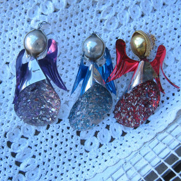 Set of 3 Foil, Tin & Mica Glitter Christmas Tree Angels - Purple Angel; Red Angel; Blue Angel - Vintage West German Metallic Angel Ornaments