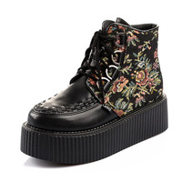 2014 Women's Black Flower Figure Style Sexy High Top Lace Up Flat PlatForm Women's Goth Creepers Shoes Punk Pumps Warm Ankle Martin Boots