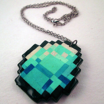 Speckled Minecraft Diamond Pendent Necklace.