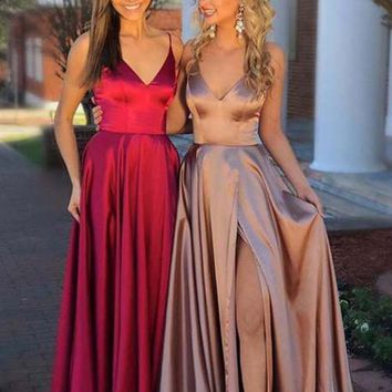 Custom Made A Line Red/Champagne Prom Dress, Red/Champagne Formal Dress, Evening Dresses