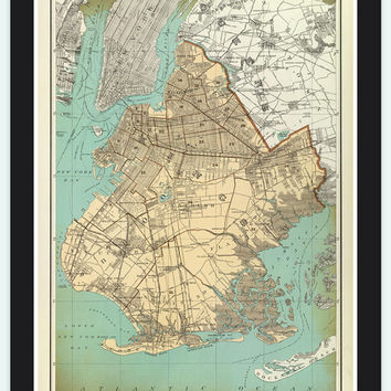Old Map of Brooklyn,  United States 1895